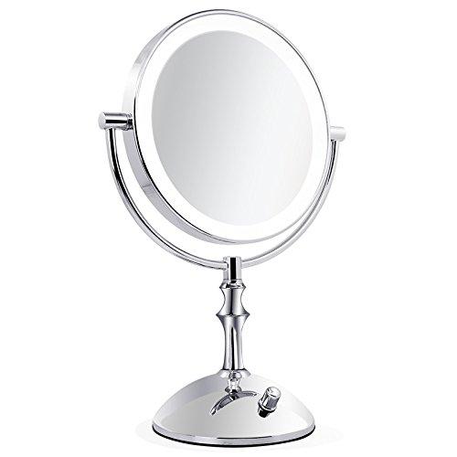 Lnxd Lupa de aumento de potencia USB de 1pcs Dama espejo de maquillaje Belleza Baño Baño de Pared plegable Espejo retrovisor de control acústico Plata,5X
