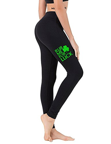 Interstate Apparel Junior's Rub Me For Luck ST. Patricks Day VV512 Black Athletic Workout Leggings One Size Fit (Day Rub)