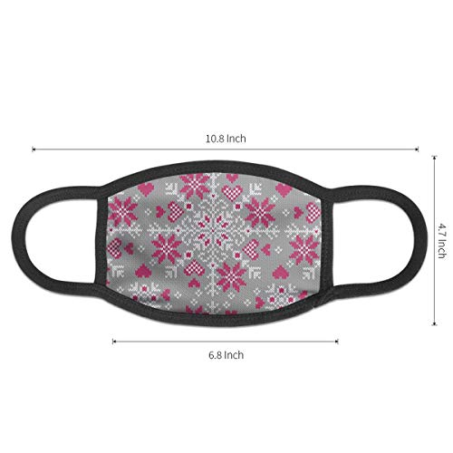 Decorated with Hearts Pattern Mouth Mask,Dust-Proof Face Mask for Women Men,Washable and Reusable Black