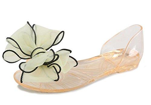 Crystal sandalias de la jalea cabeza de pescado plano con sandalias planas de los zapatos de los estudiantes flores light yellow