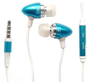 Emartbuy Azul En Manos Libres Estéreo Oído Manos Libres Con Micrófono Adecuado Para Samsung Galaxy Ace 2 I8160