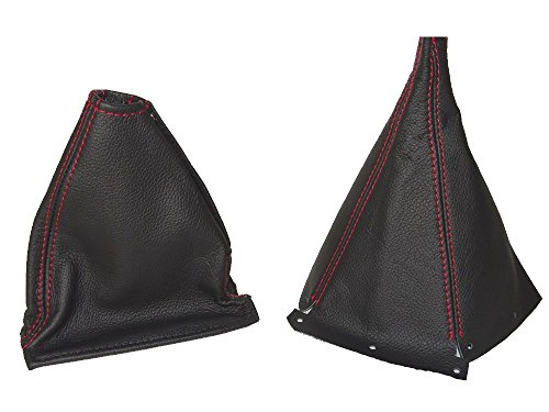 The Tuning-Shop Ltd For Nissan Skyline R33 1993-1998 Gear & Handbrake Gaiter Black Leather Red Stitching