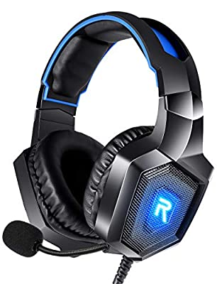 RUNMUS Gaming Headset PS4 Headset with 7.1 Surround Sound, Xbox One Headset w/Noise Canceling Microphone & LED Light, Compatible with PS4, Xbox One, Switch, PC, Mac, Over Ear Headphones