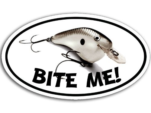 MAGNET Oval BITE ME Fishing Lure Magnetic Sticker (fish decal)