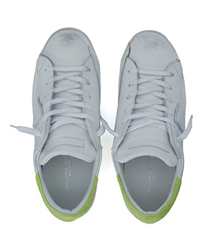 Philippe Model Sneaker Paris in Pelle Bianca e Verde Fluo Bianco