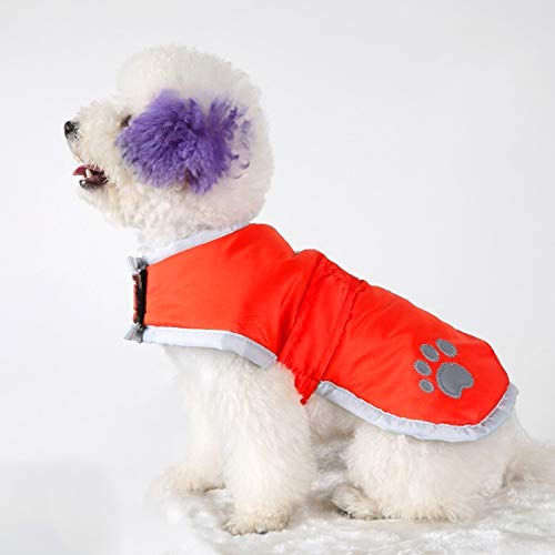 Red Pet Supplies Autumn and Winter Pet Dogs Cotton Garment with Reflective Tape,Size  M, Bust  52-59cm, Neck  32-37cm (color   Red)