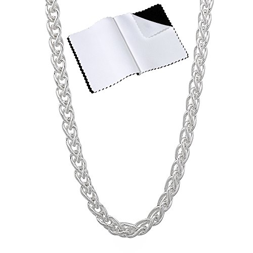 925 Sterling Silver 1.9mm-5mm Nickel-Free Wheat Italian Chain 16