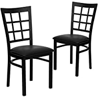 Flash Furniture 2 Pk. HERCULES Series Black Window Back Metal Restaurant Chair - Black Vinyl Seat