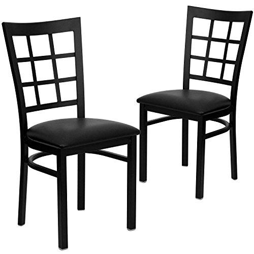 Window Back Chairs - Set of 2, Black Metal / Black Vinyl Sea