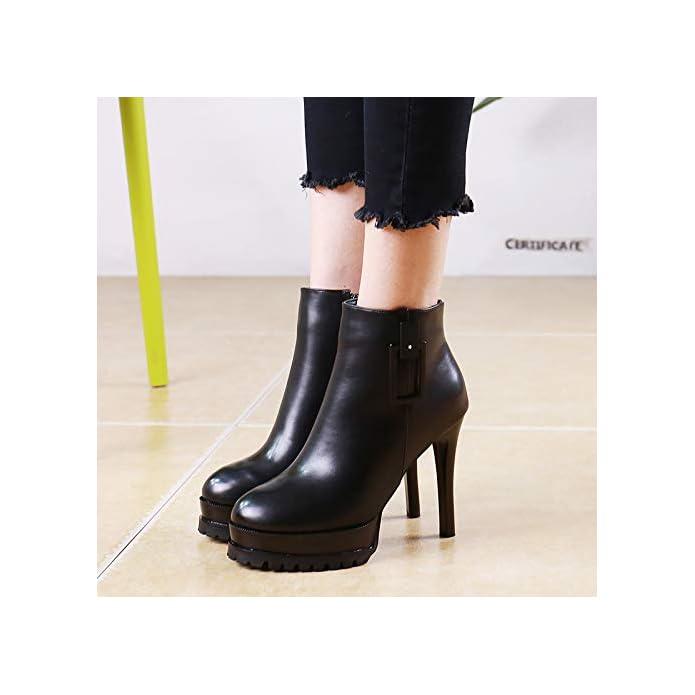 Lbtsq-alla Moda A Piattaforma Martin Gli Stivali 11cm Breve Round Testa Sottile Tacchi High Heeled Shoes