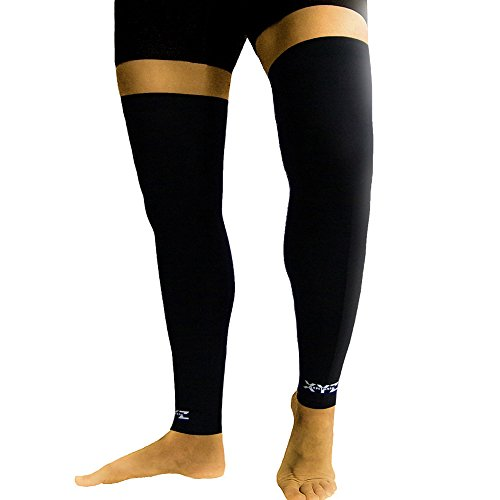 XYZ Athletic Leg Copper Compression Sleeves- Aids Circulation, Blood Flow- Knee & Calf Support, Warm Up, Endurance, Recovery- 2 Sleeves (Large) Elite Series Wrap