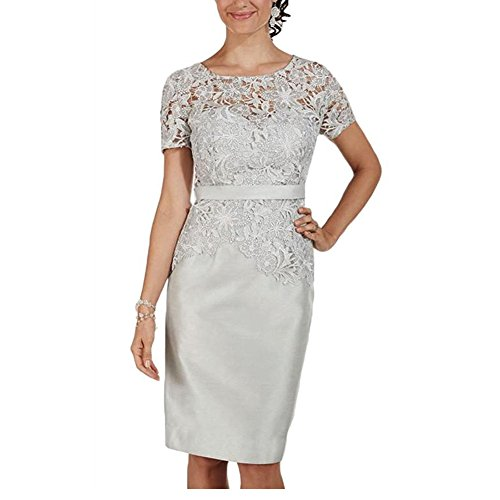 H.S.D Mother Of The Bride Dresses Women's Short Sleeves Lace Evening Gowns