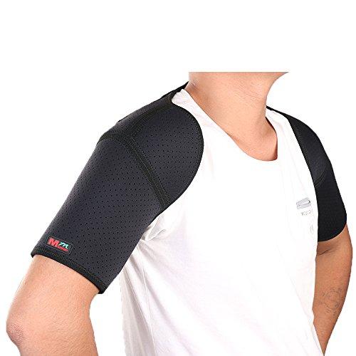 Adjustable Sports Back Shoulder Brace Shoulder Pad Wrap Support Belt Single Sports Pretector - G08 by Mumian Black (Black)