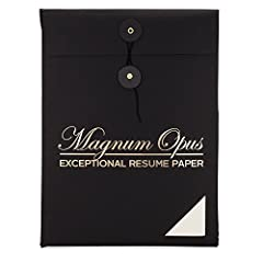 As the premier resume paper line from Opus Paper Company, Magnum Opus was crafted for unmatched first impressions. The lush, balanced, and tactile 28 lb resume paper highlights the modern style and distinguished polish of its users. Crafted f...