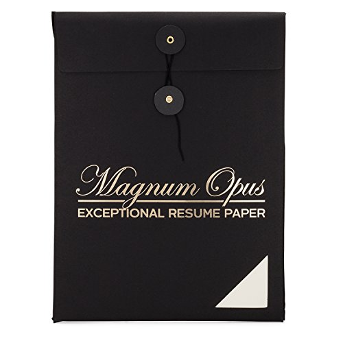 - Magnum Opus Resume Paper - 50 sheets | Exceptional white ivory 28 lb NO WATERMARK 8.5x11 | Ideal stationery for professional/executive resumes cover letters and interviews