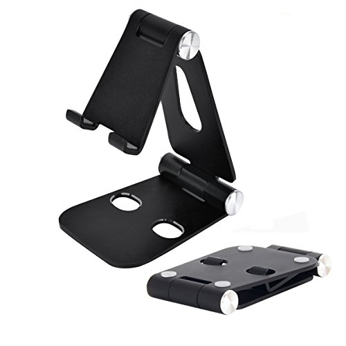 Collapsible Stand - Phone Tablet Stand, Cell Phone Stand Dual Foldable Aluminum Stand Universal Phone Stand Holder for iPad Pro, Nintendo Switch, iPhone 8 X 7 6 6s Plus, Samsung Galaxy S8/S8 Plus (Black)