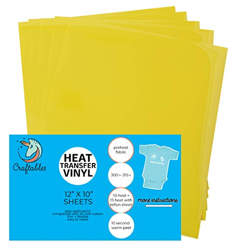 Craftables Yellow Heat Transfer Vinyl HTV - 5 Sheets Easy to Weed Tshirt Iron on Vinyl for Silhouette Cameo, Cricut, All Craft Cutters. Ships Flat