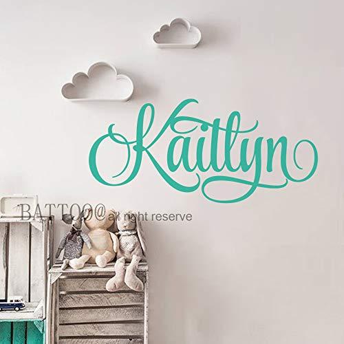 (BATTOO Personalized Nursery Wall Decals Baby Girl Name Wall Decal Girls Name Decals Swirly Name Decals Girls Bedroom Wall Decor Plus Free Hello Door Decal, 16