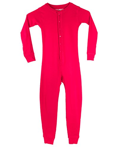 d610b4a18b Big Feet Pajama Co. Red Union Suit Kids Pajamas Danger Blast Area Sign on Rear  Flap