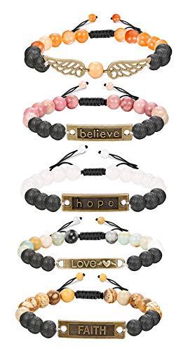 Finrezio 5 PCS Bead Bracelets for Women Aromatherapy Essential Oil Diffuser Natural Lave Rock Stone Bracelet Set 8MM (Style B: 5 PCS of Adjustable) by Finrezio