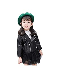 Fsqjgq Toddler Baby Boy Girl Leather Coat Kids Motorcycle Jackets Winter Outwear Slim Coat Tops with Pocket 1-5 Years Old