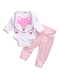 Newborn Baby Girl Hello Fox Long Sleeve Bodysuit+Leggings Pants 2Pcs Outfit Clothes
