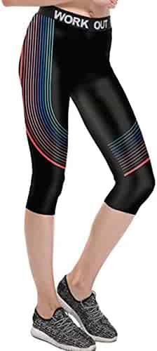 adbc1fdb0e25ec LOV ANNY Women's Digital Printed Workout Capris Leggings Stretch Cropped  Pants