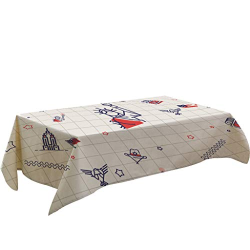 Hstore Rectangular Linen Blend Tablecloth for Independence Day,American Flag Print,Summer BBQ and Outdoor Picnics 140cm x 180cm ()