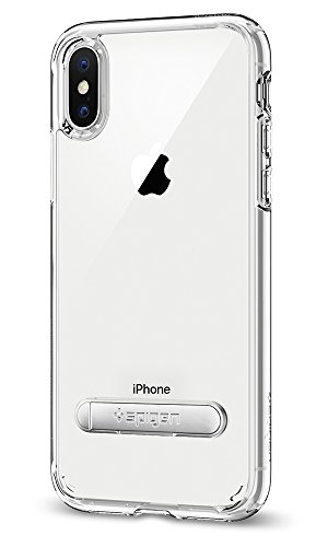 Spigen Ultra Hybrid S iPhone X Case with Air Cushion Technology and Magnetic Metal Kickstand for Apple iPhone X (2017) - Crystal Clear
