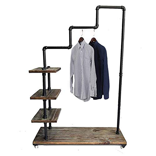 Diwhy Industrial Pipe Clothing Rack Pine Wood Shelving Shoes Rack Cloth Hanger Pipe Shelf 4 Layer by Diwhy (Image #9)