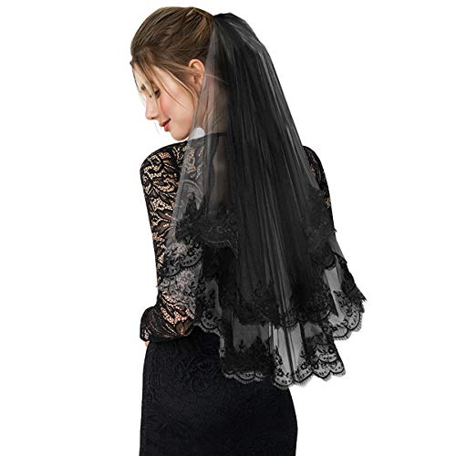Black Lace Veil Vintage Wedding Veil Halloween Costume Comb Tulle with Appliques 2 Tiers Cosplay 80cm ()