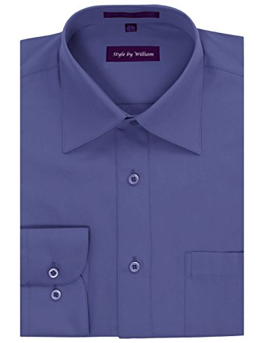 (Style by William Men's Regular Fit Dress Shirt French Blue N:18.5