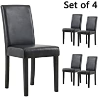 YEEFY Set of 4 Urban Style Solid Wood Leatherette Padded Parson Dining Chair (Black)