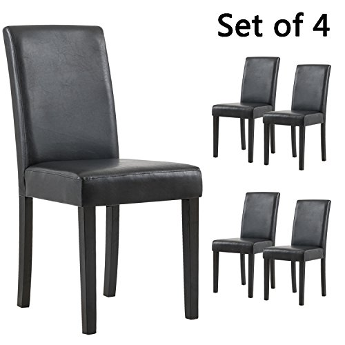 YEEFY Set of 4 Urban Style Solid Wood Leatherette Padded Parson Dining Chair (Black) by YEEFY