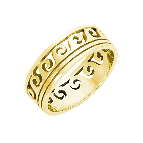 CloseoutWarehouse Sterling Silver Yellow Gold-Tone Plated Maori Ocean Wave Ring Size 10