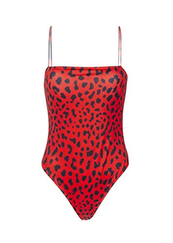 (Women's Red Leopard Cheetah Animal Print One-Piece Swimsuit Bathing Suit - Size X-Large)