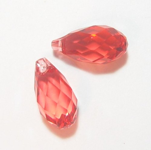 2 pcs Swarovski Crystal Teardrop 6010 Briolette Pendant Charm Padparadscha 13mm / Findings / Crystallized Element (Pendant Briolette 6010)