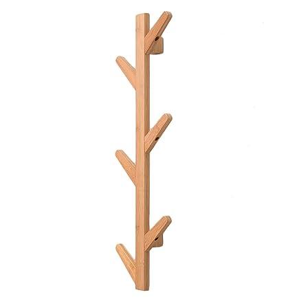 QiangDa Colgador De Ropa Pared Percheros Perchas Bambú Forma ...