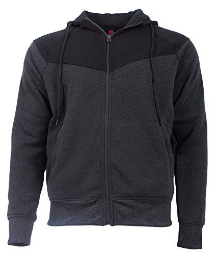 Lightweight Knit Activewear Zip ('J. Whistler Men\'s Full-Zip Fleece Metro Hoodie, X-Large, Charcoal/Black')