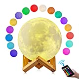 Moon Lamp, GDPETS 3D Printing 4.8 Inch 16 Colors Moon Night Light with Stand & Remote &Touch Control and USB Rechargeable Decorative Luna Lamp for Baby Kids Birthday Party Christmas Gifts