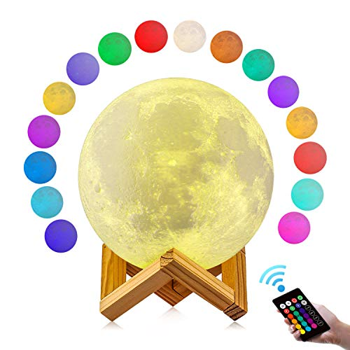 GDPETS	Moon Lamp, GDPETS 3D Printing 4.8 Inches 16 Colors Moon Night Light with Stand & Remote &Touch Control and USB Rechargeable Decorative Luna Lamp]()