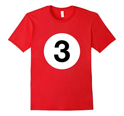 Stick Man Costume Ideas (Mens Billiards Ball 3 Shirt No. 3 Costume Idea Pool Player Gifts 2XL Red)