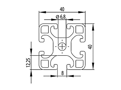 Perfil de aluminio 40 x 40 L tipo I ranura 8 1 2000 mm corte 50 mm 50mm 12,50 EUR//m + 0,25 euros por corte, m/ín. 2,50 EUR