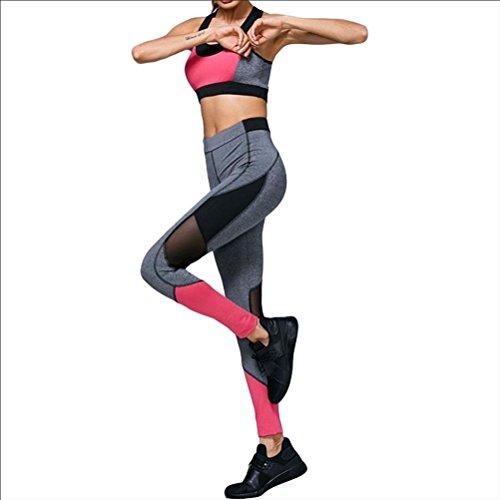 YN Vêtements de yoga 2 soutien-gorge de sport fitness sportif en deux pièces f white black bra + pants
