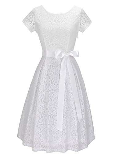 Anni Coco Women's Vintage Floral Lace 1950's Short Sleeve V Back Cocktail...