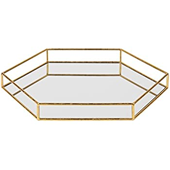 Kate and Laurel Felicia 20x20 Metal Mirrored Hexagon Decorative Tray, Gold