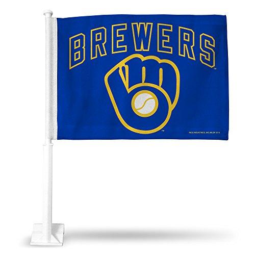 MLB Milwaukee Brewers Ball & Glove Car Flag (Mlb Milwaukee Car Brewers)