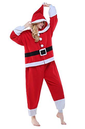 CANASOUR Christmas Santa Claus Cosplay Anime Unisex Adult Pajamas one-Piece Onesie -