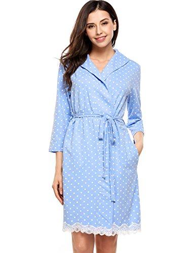 Avidlove Womens Bathrobe Soft Kimono Cotton Knit Robe Lace T