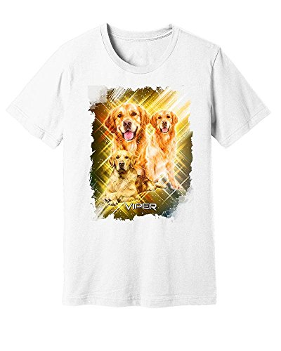 Personalized Pet T-shirt - Viper Golden Retriever Pet Full Color Graphic Tee Shirt 100% Cotton White M